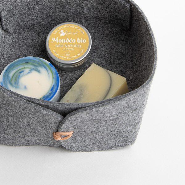 Panière marbrée - Un savon Patchouli, un shampoing solide cheveux normaux, un déodorant solide Citron Patchouli